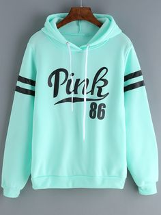 Shop Green Drawstring Hooded Letters Print Sweatshirt online. SheIn offers Green Drawstring Hooded Letters Print Sweatshirt & more to fit your fashionable needs.