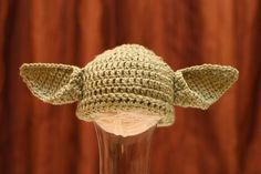 Will go with C's Yoda shoes. Star Wars Yoda Inspired Crochet Baby Hat for Boy by 2catsandyarn, $25.00