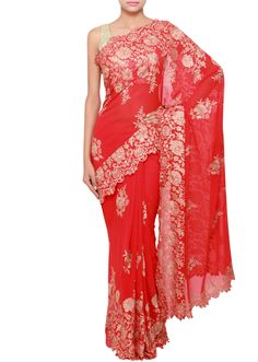 pakaian merah Red Saree, Orange Dress, Saris, Indian Dresses, Indian Fashion, Formal Dresses, Clothes, Rouge, Indian Gowns