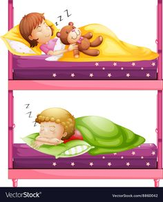 Kids sleeping in bunkbed at night vector image on VectorStock
