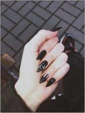 127 awesome acrylic coffin nails designs in summer -page 14 > Homemytri.Com – Nails art Goth Nails, Edgy Nails, Grunge Nails, Stylish Nails, Swag Nails, Black Acrylic Nails, Best Acrylic Nails, Stiletto Nail Art, Black Acrylics