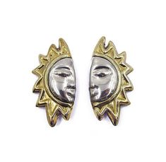 Taxco Sterling Sun Earrings  Laton Earrings Two Tone
