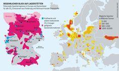 CO2-Verpressung: Probleme aus der Tiefe | Infografik: Potenzielle Speicherregionen in Europa und Deutschland für alle CO2-Emissionen aus Förderung und Verbrauch fossiler Brennstoffe (CSS)