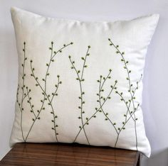 Willow Tree Throw Pillow Pussy Willow Embroidered Linen Couch Pillow Bedroom Apartment Decor Cushion - Pillows Case - Ideas of Pillows Case - Willow Tree Pillow Cover Cream Linen Pillow Green by KainKain Cream Pillow Covers, Cream Pillows, Decorative Pillow Covers, Throw Pillow Covers, Orange Pillows, Cushion Covers, Sewing Pillows, Diy Pillows, Linen Pillows