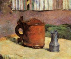 Clay Jug and Irin Mug by Paul Gauguin in oil on canvas, done in Now in a private collection. Find a fine art print of this Paul Gauguin painting. Paul Gauguin, Tahiti, Klimt, Van Gogh, Harvard Art Museum, Impressionist Artists, Post Impressionism, Oil Painting Reproductions, Art Moderne