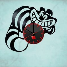 Alice in Wonderland Cheshire Cat HANDMADE vinyl record wall clock kid room decor #Handmade #vintagerecords
