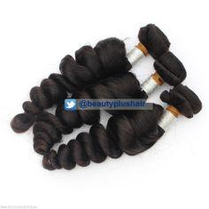 3Pcs 16/18/20 Brazilian Virgin Human Hair Extensions Loose Wave Hair 300g #1B Loose Waves Hair, Wave Hair, Sew In Wig, Braid Patterns, Virgin Hair Extensions, Fashion Sewing, Weave, Wigs, Braids