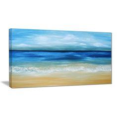 Designart 'Warm Tropical Sea and Beach' Seascape Painting Canvas Print