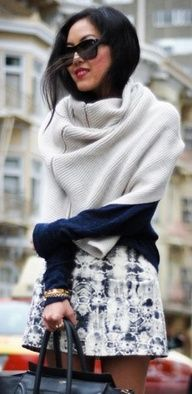 A cape/shawl/big scarf/possible blanket is always a viable option for these cold months.
