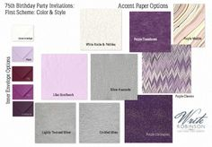 The initial mood board for a 75th Birthday Party invitation suite. We were deciding on shades of purple and visual and tactile texture.