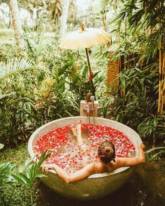 Alexandra Pereira in Bali Spas, Bali, Outdoor Bathrooms, Outdoor Bathtub, Relaxing Bath, Building A Shed, Building Plans, Ubud, Adventure Is Out There