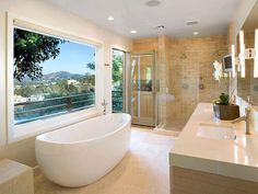This airy bathroom by Christopher J. Grubb has its own balcony -- perfect for stargazing after a romantic shower for two.