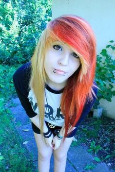 orange hair half and half yellow hair scene girl colorful hair