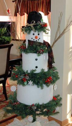 Snowman is a 6' artificial tree. U remove some of the branches & wind batting around the pole 2 make the sections. Has a fleece hat & scarf. His nose is a faux carrot & his eyes & mouth are buttons. He has lights inside his body & the 2 where his cheeks would B R red. The interior lights are on a flasher so the lights on the branches stay on all the time & the lights inside flash on/off. Decorate w/snowflakes, pine cones, faux berries, icicles & cardinals. Arms R made from real tree…