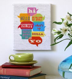 'Greetings' Modern Cross Stitch Sampler Pattern by @SatsumaStreet, $6.00 #diy #craft #project #embroider #sew #download #pattern