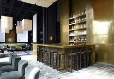 | BAR | DETAILS | Lovely detailing when vertical elements continue on floor. #MonsieurBleu designed by #JosephDirand.