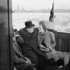 Winston Churchill on the Thames, just past Greenwich 1940