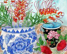 Grevillea Gabby Malpas watercolour C6 greeting card by GabbyMalpas, $4.00
