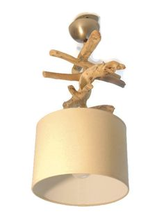 Lustre plafonnier en bois flott lin 35 cm cr ation for Lustre double suspension