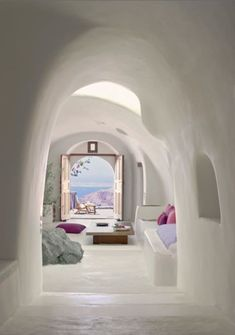 Perivolas Hotel in Santorini, Greece. I think I could just spend forever Hotel hopping in Santorini I'm staying in a new hotel every night, and never get bored! I love how so many of the Santorini hotels have that cave style Interior Architecture, Interior And Exterior, Interior Design, Organic Architecture, Room Interior, Greece Architecture, Stone Interior, Spanish Architecture, Mediterranean Architecture