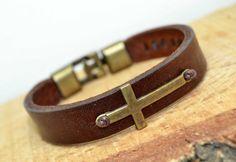 FREE SHIPPING - Men's Personalized Bracelet, Men's Leather Bracelet,Private massage,Hidden message, Cross bracelet, cross leather bracelet