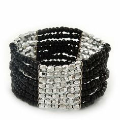 """Multistrand Black Glass/ Silver Acrylic Bead Stretch Bracelet - 18cm Length Avalaya. $6.30. Occasion: casual wear, cocktail party. Wear On: wrist. Type: multi-strand, stretchy. Length: 18.0cm (7.09""""). Material: glass, plastic"""