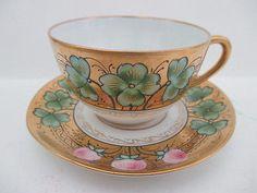 Limoges-PL-Hand-Painted-Pink-Clover-Leaf-Gold-Trim-Demitasse-Cup-amp-Saucer-France