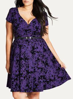 City Chic Purple Floral Skater Dress With Belt