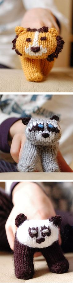 Free Knitting Pattern for Two-Finger Puppets - Let your fingers do the walking for these cute puppets. There are instructions for 3 faces – 2 cats and a raccoon – but they are easy to customize. Designed by Luciana Jorge. Available in English and Spanish. Knitting For Kids, Loom Knitting, Knitting Patterns Free, Free Knitting, Knitting Projects, Baby Knitting, Crochet Projects, Crochet Patterns, Knitting Toys