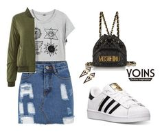 """YOINS Bomber Jacket"" by tania-alves ❤ liked on Polyvore featuring adidas, Moschino, women's clothing, women's fashion, women, female, woman, misses, juniors and yoins"