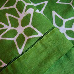 Linen Towel Tea Towel Hand Dyed Batik Emerald Green Starlight 20% OFF SALE