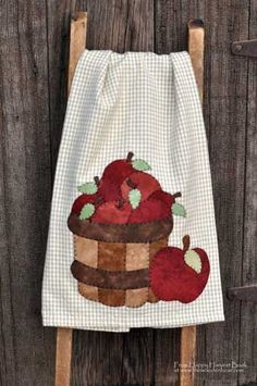 Appliqued Apple Tea Towel in the Happy Harvest book by Kelly Mueller of The Wooden Bear.