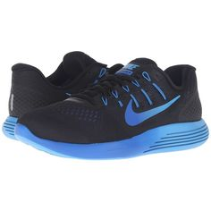 Nike Lunarglide 8 (Black/Multicolor/Deep Royal Blue/Hyper Cobalt)... ($120) ❤ liked on Polyvore featuring men's fashion, men's shoes, men's athletic shoes, mens lightweight running shoes, mens mesh shoes, mens shoes, mens breathable shoes and colorful mens shoes