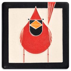 Charley Harper's whimsical and vivid cardinal design makes a bright decorative accent.