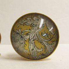 Yellow Metal Knob with Glass Front Vintage door ShabbrusticChic