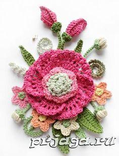 Цветы крючком, панно, схема и описание