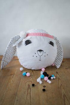 Rabbit the Hippie Pillow, Bunny, long dotty ears, polka dot, boho, hippie, scandinavian, home decor, kids room, pompom, feather, grey