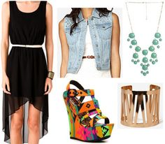 What to wear in Las Vegas: Outfit 3 - High-low dress, funky wedges, denim vest, statement necklace