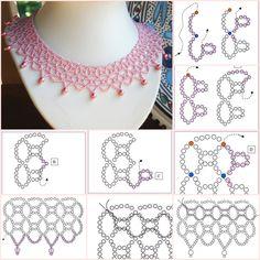 collar de tejido rosa, con su esquema