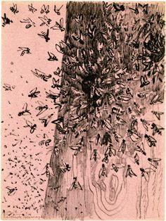 Gertrude Hermes ~ Swarm of bees, 1957 (black felt-tipped pen, on mauve paper)