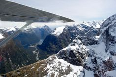 Spectacular views from the air over Milford Sound Long Lake, Milford Sound, Mount Everest, Discovery, Cruise, Trail, Southern, Explore, Mountains