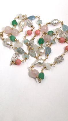 Multi Gemstone Pastel Long Necklace with Herkimer Diamond Aquamarine Gold Dainty Diamond Necklace, Gemstone Necklace, Beaded Necklace, Beaded Bracelets, Bead Earrings, Glass Jewelry, Pearl Jewelry, Body Jewelry, Crystals