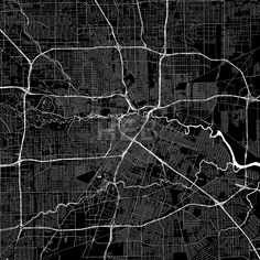 Houston USA Download PDF Map.  Highly detailed art map for infographic background. White highways, streets and water on black. Bigger bridges with out... ... #download #map #stockimage #graphic #pdf #vector #citymap #city