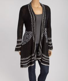 Another great find on #zulily! Black Chevron Open Cardigan - Plus by Belldini #zulilyfinds