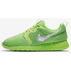 ebc27175d5112 Bling Swarovski Nike Roshe One Hyper Breathe-Ghost Green ($155) ❤ liked on