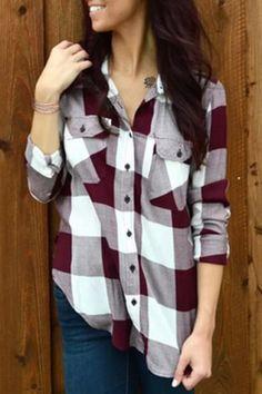 Stylish Shirt Collar Long Sleeve Plaid Side Slit Women's Shirt