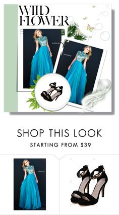 """Sherri Hill 1933 Teal Cap Sleeves Gown"" by susannelsone on Polyvore featuring Sherri Hill"