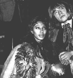 Afro-American high fashion model Donyale Luna and rock icon Brian Jones together circa late 1960s.