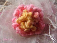 Pink Hydrangea flower brooch from fine felted merino by LanAArt