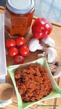 Zacusca de ciuperci (ghebe, galbiori, champignon) - reteta simpla - la cuptor | Savori Urbane Chicken Wings, Meat, Cooking, Food, Preserve, Mushrooms, Kitchen, Essen, Meals